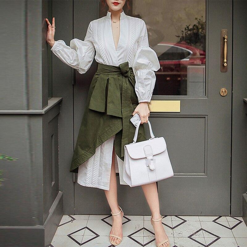 CHICEVER automne deux pièces ensemble femmes costume manches bouffantes chemise blanche avec taille haute irrégulière Midi jupe vêtements mode coréenne - 3