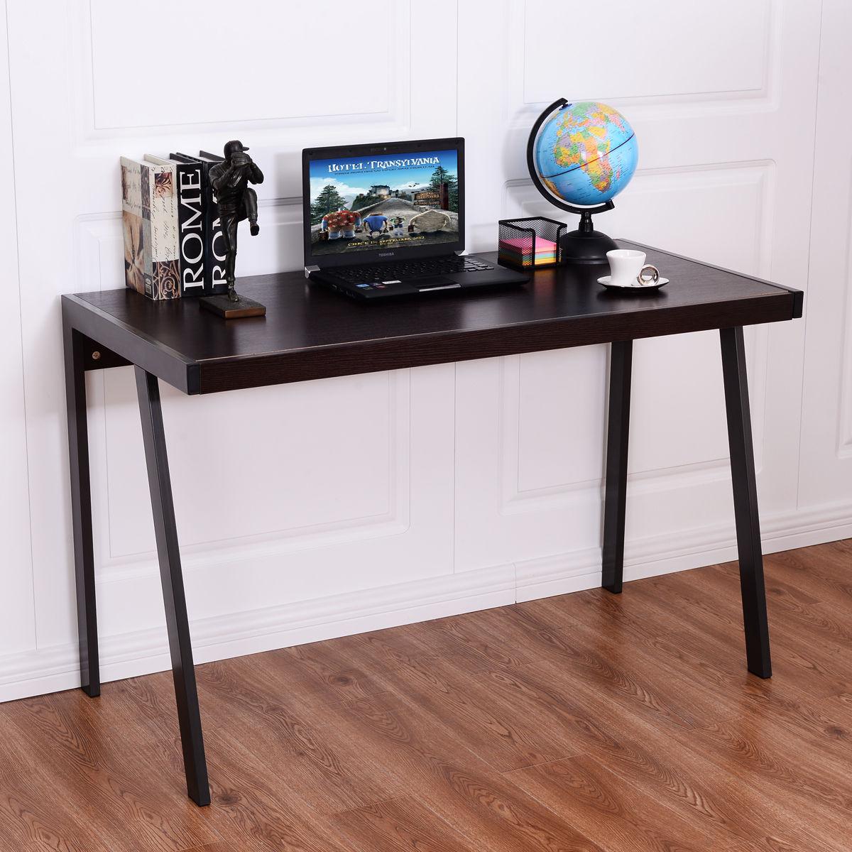 Giantex bois Top ordinateur bureau moderne PC table d'ordinateur portable étude poste de travail en métal cadre maison bureau meubles HW54487