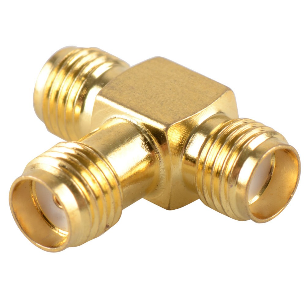 1 PC Adapter SMA Jack Female To 2 SMA Female T RF Splitter Connector Triple 1F2F Brass Gold Plating VC724 P30 rp sma female to y type 2x ip 9 ms156 male splitter combiner cable pigtail rg316 one sma point 2 ms156 connector for lte yota