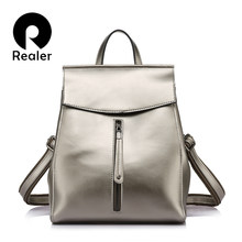 REALER brand women backpack high quality cow split leather backpacks ladies shoulder bags female school bag for teenage girl(China)