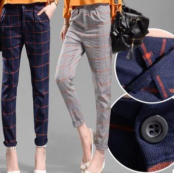 New Europe and America fashion England plaid   pants   Loose harem   pants   women casual   capris     pants