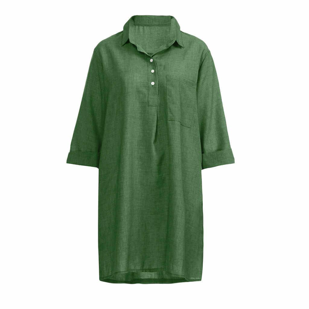 Camsgend Dresss винтажное женское платье с рукавом 3/4, Повседневное платье с карманами и пуговицами, женское однотонное платье в стиле бохо с отложным воротником, одежда 9. JAN.18