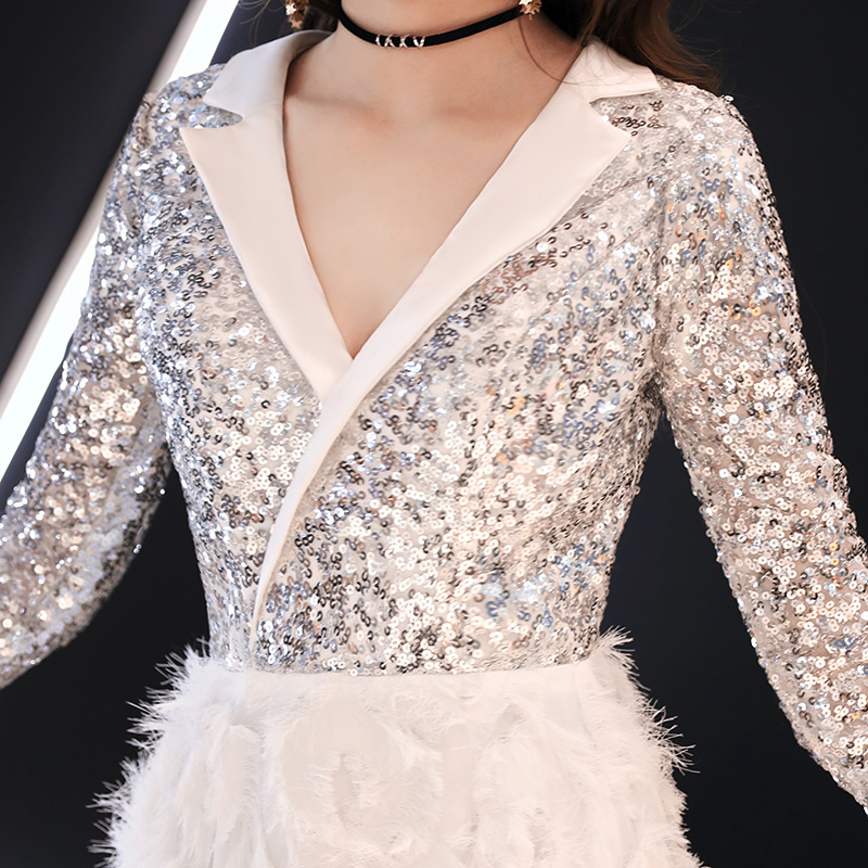 Image 5 - weiyin 2019 New V Neck Evening Dress The Banquet Elegant White 3/4 Sleeves Sequins Long Party Formal Gown WY1554 Robe De Soiree-in Evening Dresses from Weddings & Events
