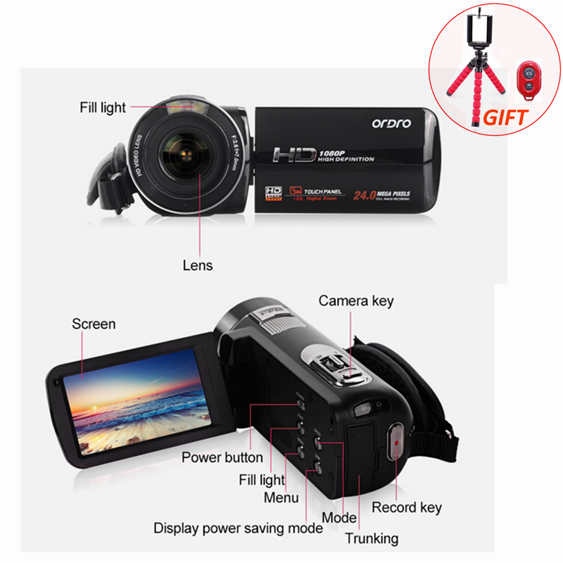 HD 1080P Digital Photo Cameras 24.0 MP 16X 3.0'' with Remote Control LCD Rotation Screen Mini Video Camcorders DV Recorder