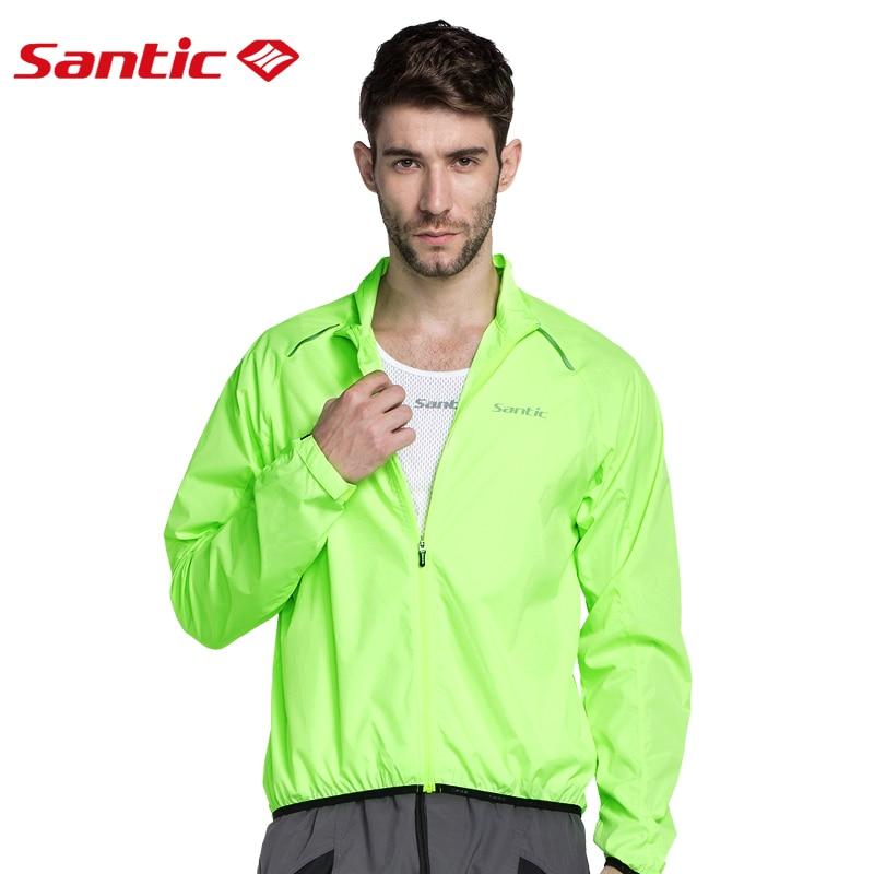 Santic vīriešu riteņbraukšanas vējjakas Saules aizsargājošs pretšļakatu ūdens UPF30 + velosipēdu apģērbs Ādas mētelis Green C07015V