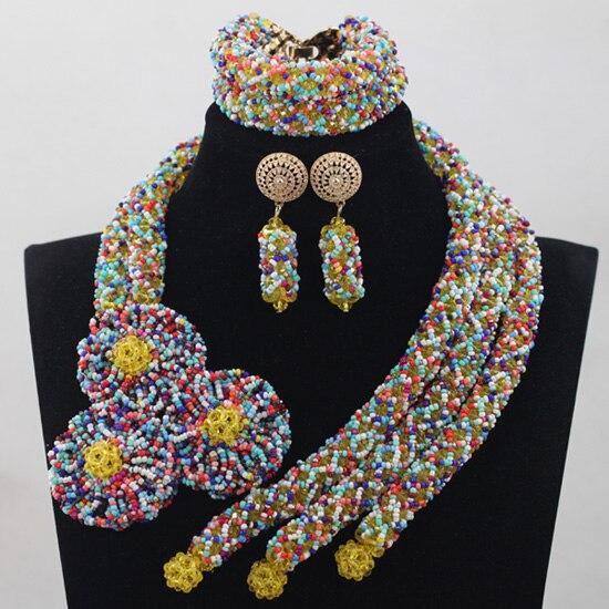 New Multicolor/Purple Crystal Handmade Set Nigerian African Wedding Bridal/Women Beads Necklace Jewelry Set Free Shipping ANJ217 все цены