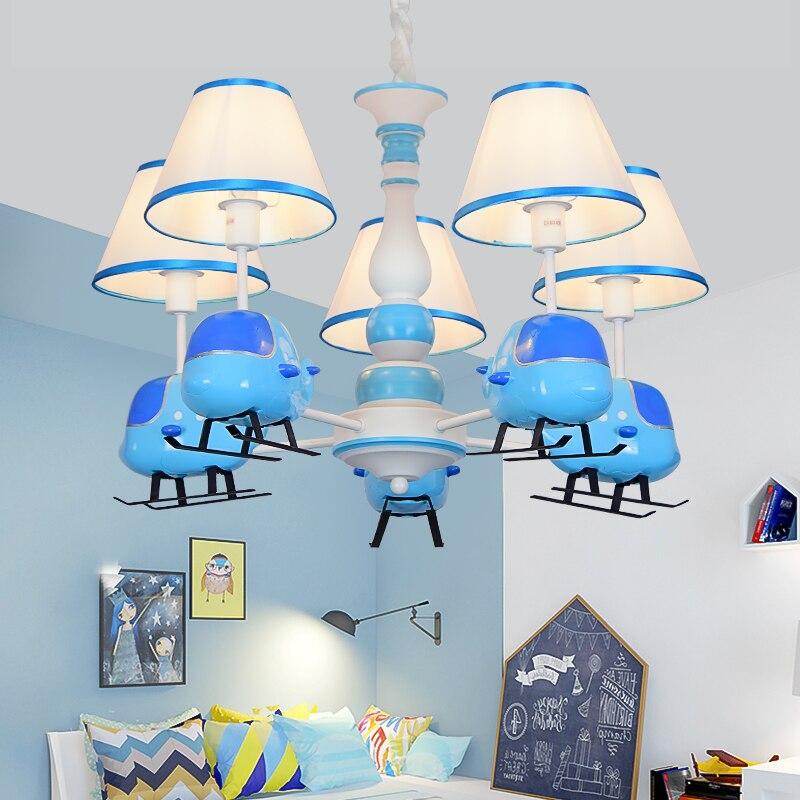 Cartoon creation blue helicopter chandelier boy bedroom children's room light American modern simple LED resin chandelier|Pendant Lights| |  - title=