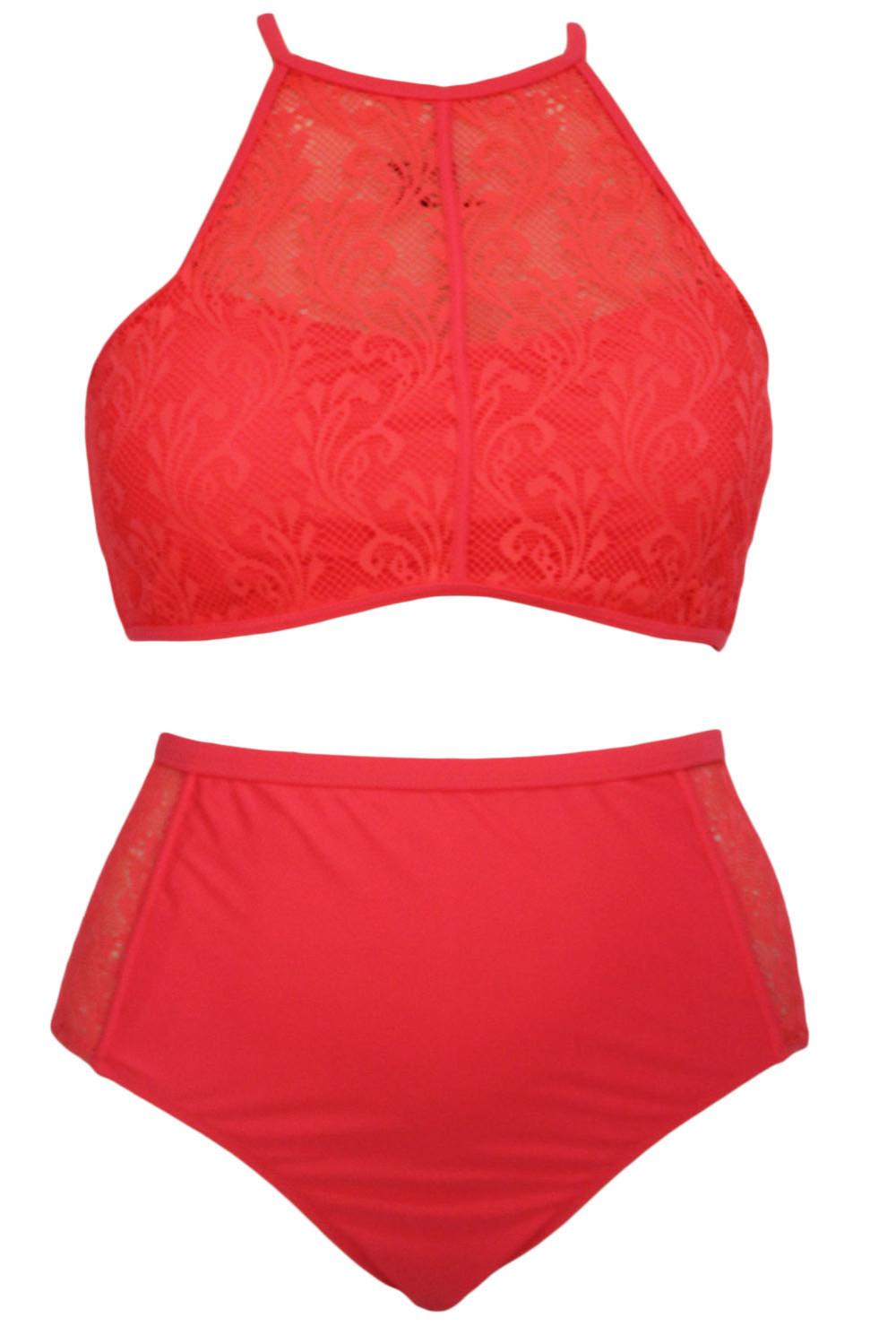 4813f3431d high neck padded swimsuit Plus Size High Waist Swimsuit Halter ...
