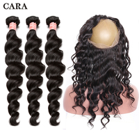 360 кружева фронтальной с Комплект перуанский девственные волосы свободная волна 3 Комплект s волос предварительно сорвал 360 фронтальной с ко