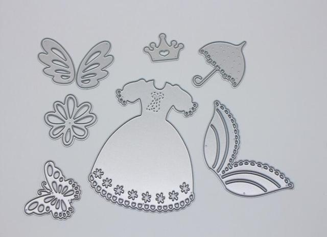7pcs Set Cute Princess Dress Skirt Suit Accessories Metal Cutting Dies Template DIY Scrapbooking Decorative