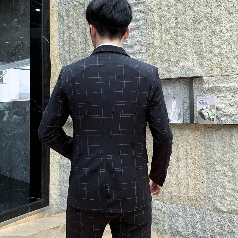 Новинка 2019, мужские костюмы, костюм джентльмена в британском стиле (Блейзер + жилет + брюки), полосатый высококачественный модный костюм с пр... - 4