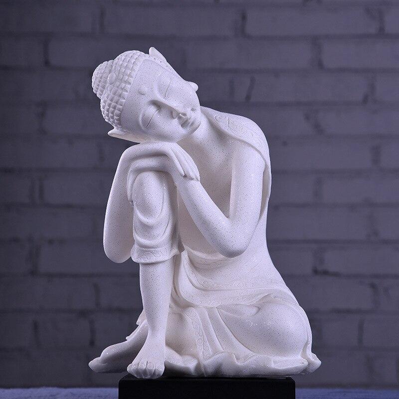 Statue de bouddha en grès blanc inde Yoga Mandala bouddha image Sculptures décoration de la maison accessoires Figurine ornements artisanat