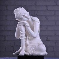 White Sandstone Buddha Statue India Yoga Mandala buddha image Sculptures Home Decoration Accessories Figurine Ornaments Crafts