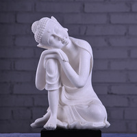 White Sandstone Buddha Statue India Yoga Mandala buddha image Sculptures Home Decoration Accessories Figurine Ornaments Crafts
