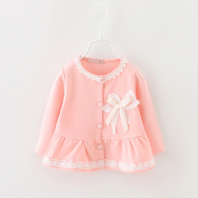 2016 children's clothing baby girls coat cardigan jacket 100% cotton long-sleeved embroidered with white flowers free shipping
