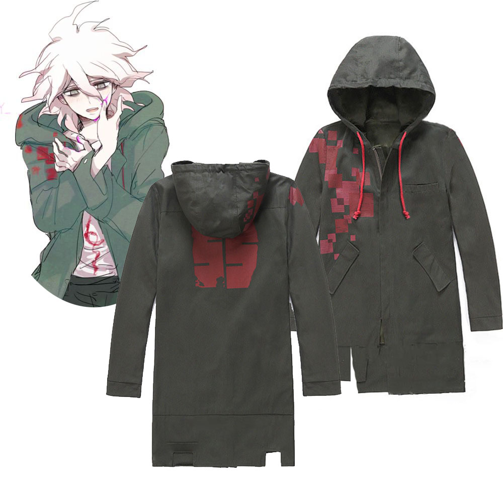 Anime Super Danganronpa 2 Costumes Nagito Komaeda Nagito Army Green Jackets Coats Couple Clothes Party Cosplay Costume Gifts