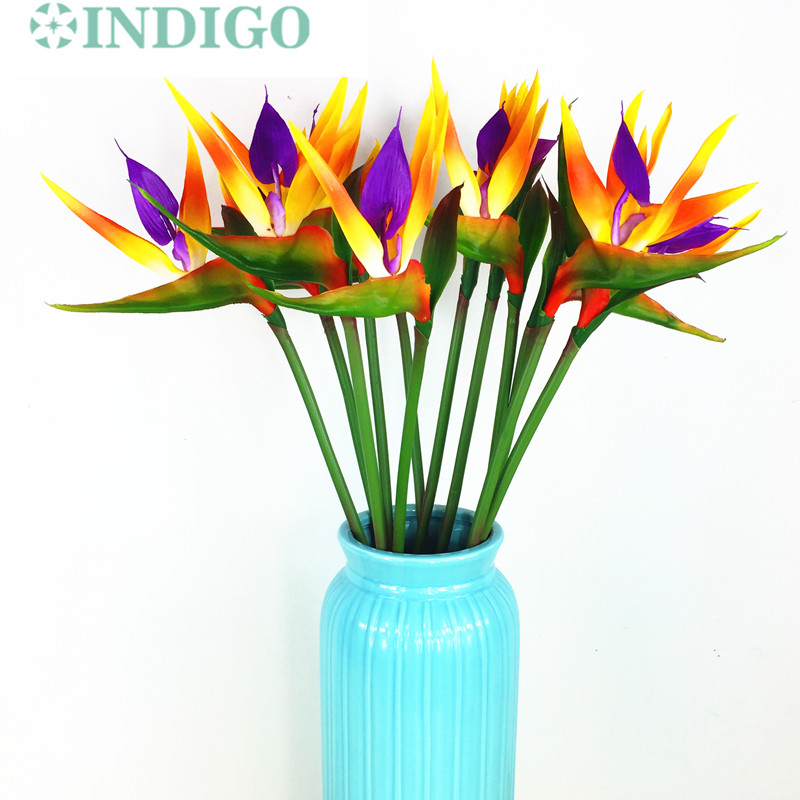 INDIGO 5pcs Sunset Bird Of Paradise Orchid Bouquet Real Touch ...
