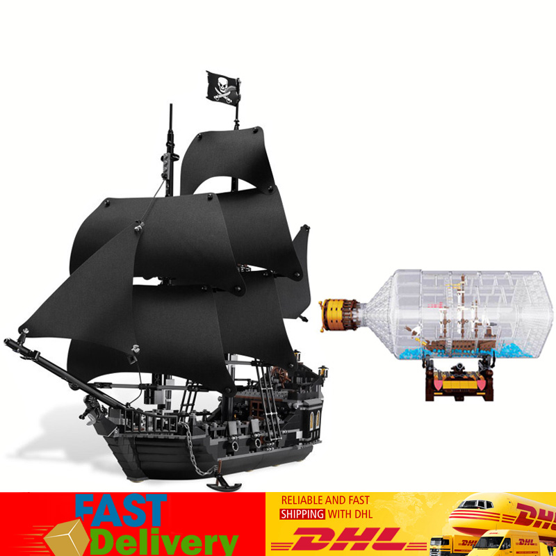 LEPIN 16006 Pirates of The Caribbean Black Pearl Ship 16045 Pirates of The Caribbean Ship In Bottle Compatible LegoINGlys 4184 pirates of the caribbean at world s end level 3 cd