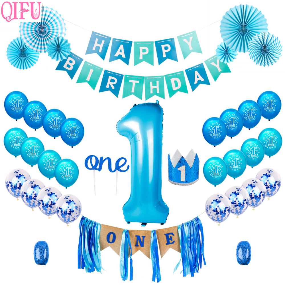 Qifu Blue Boy 1st Birthday Decorations Chairs Baby Shower Baby Boy Hat Banner One Cake Topper Happy Birthday Party Supplies Party Diy Decorations Aliexpress