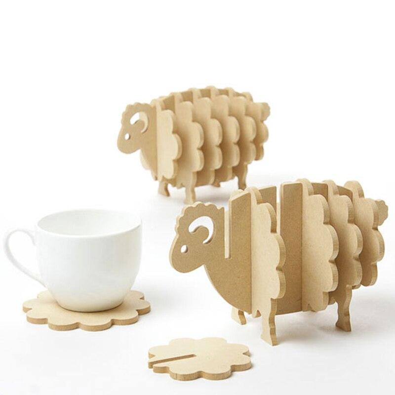6 Pcs/Set Wooden Creative Sheep Shaped Antislip Pine MDF Coffee DIY Coasters Place Mat Thermal insulation Pad Kitchen Bar Tools