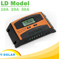PWM 12V 24V Auto Solar Charge Controller 30A 20A 10A LCD Regulator High Efficiency Intelligent PWM 3 Stage Charging Protection