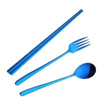 Waasoscon 3pcs Colorful Flatware Stainless Steel Tableware Chopstick Fork Spoon Dinner Food HQ Rainbow Cutlery Set
