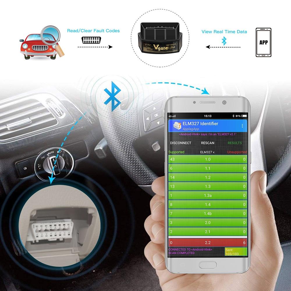 Image 2 - (5pcs/lot)Vgate icar Pro elm 327 bluetooth obd2 scanner scan pro car Diagnostic Tool OBDII Code reader elm327 V2.1 scan tool on
