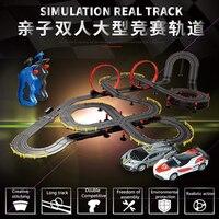 Детская дрожания рук с электронным управлением высокая Скорость вагон Набор Модель игрушки Race двойной дистанционного Contorl трек гонки игруш