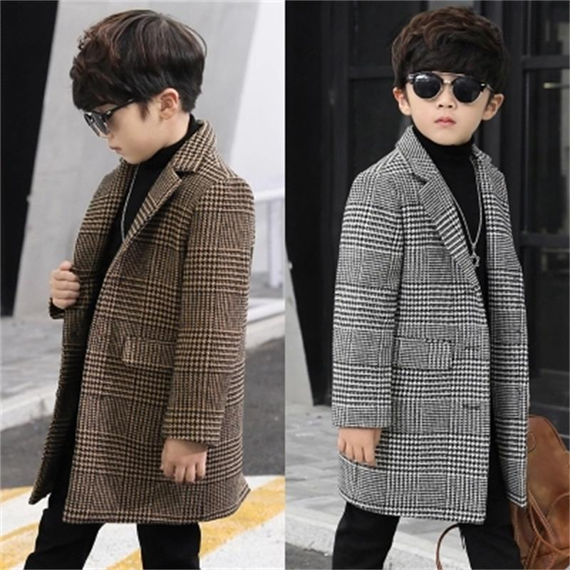 New 2018 Fashion lattice high quality Children Woolen Coat for Boys Hot Autumn Winter Fashion Buttons Kids Clothes Woolen coat02 handsome grey woolen coat belt for bjd 1 3 sd10 sd13 sd17 uncle ssdf sd luts dod dz as doll clothes cmb107