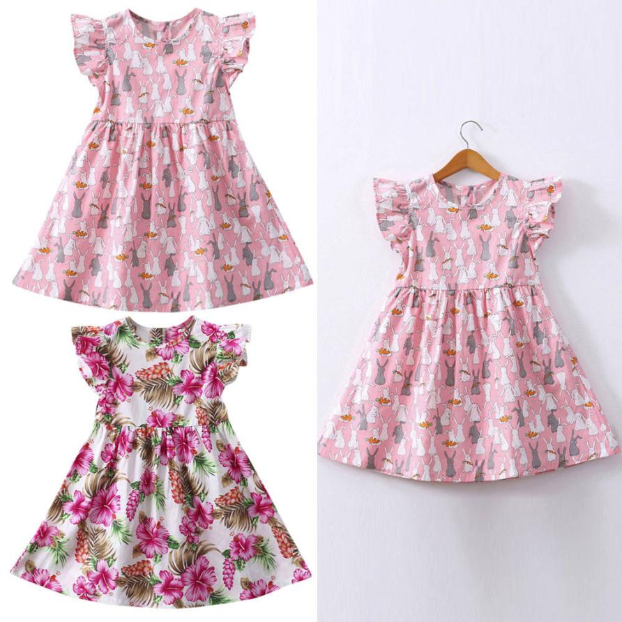 TELOTUNY 2018 summer kids girl dresses Baby Girls Kids Infant Toddle Floral Rabbit Sleeveless Clothes Princess Dress a26