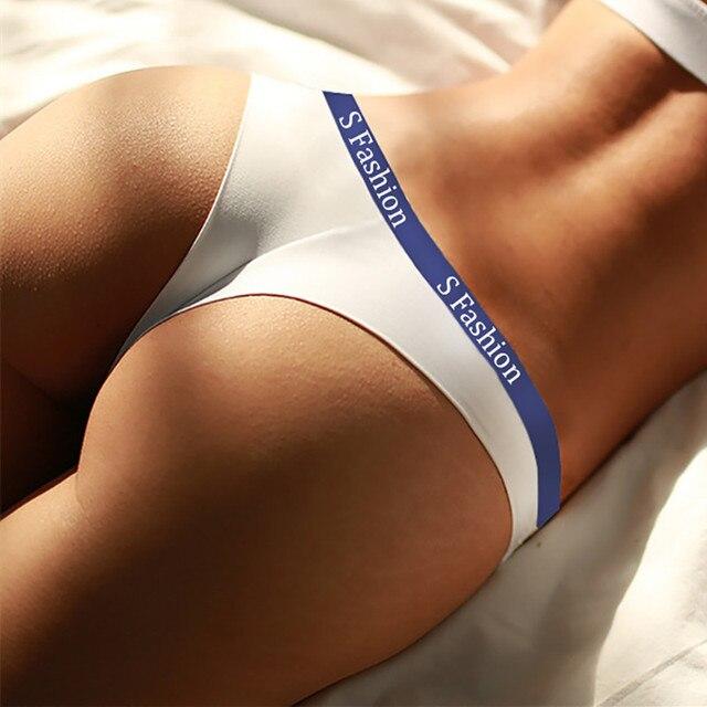 5pcs/lot briefs woman high waist thong seamless Panties women g string white Cotton sports underwear Letter sexy womens thongs 2