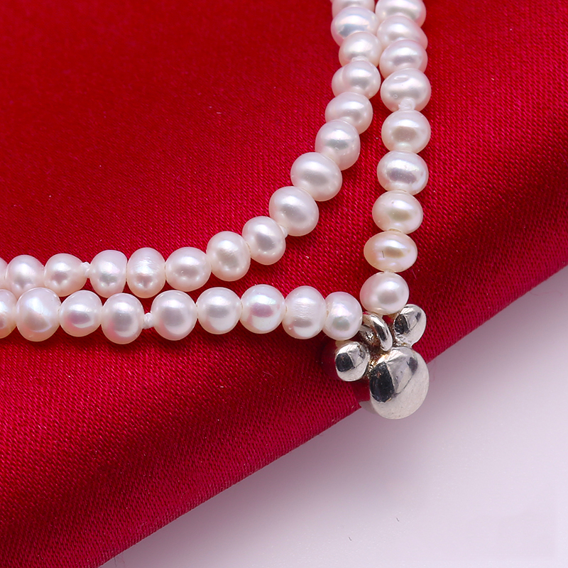 JYX 3mm Natural 100% Natural Freshwater Pearl Pearl Necklace Choker Sterling Silver Necklace 16.5 natural 100