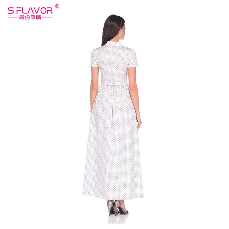 S. FLAVOR женское белое платье с отложным воротником, осеннее платье с модным принтом в горошек, длинный рукав, женское тонкое платье, Vestidos De