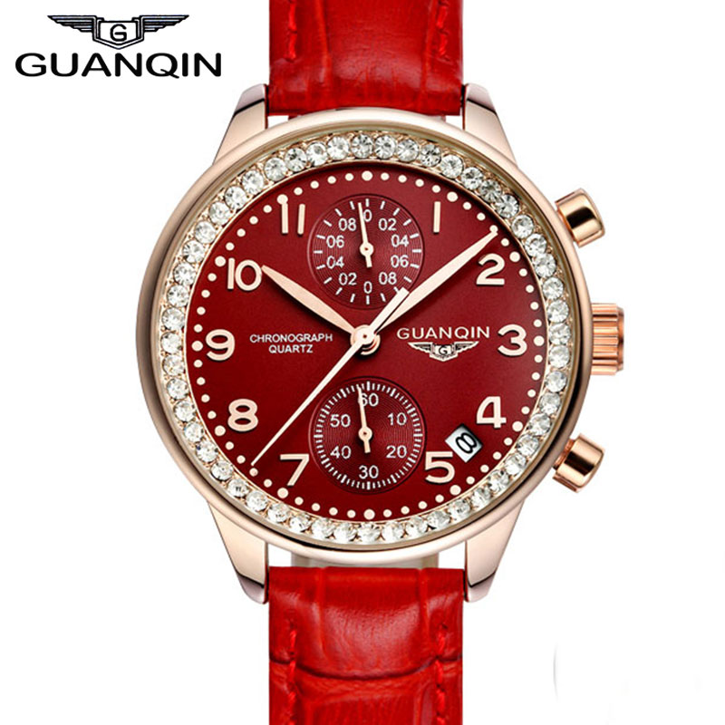 2016 GUANQIN Top Brand Watch Women Quartz Watches With Leather Strap Waterproof Fashion Hours For Ladies wholesale 2016 new elastic knitted ladies fashion blue beading bandage strap crop top