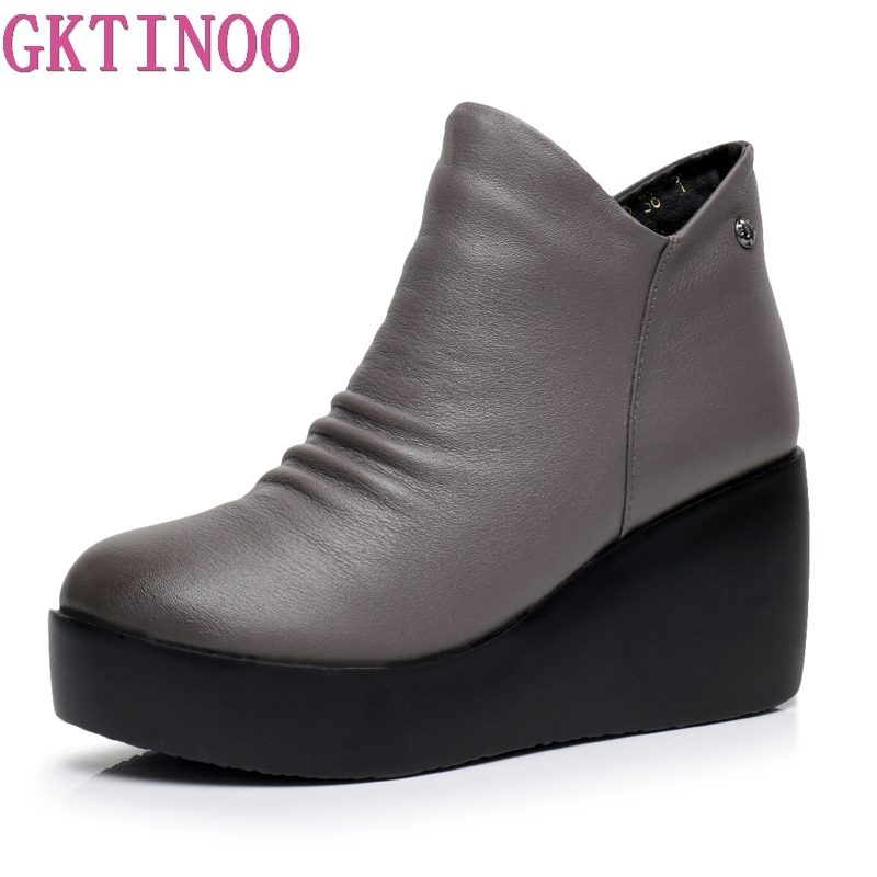 GKTINOO 2019 New Autumn Winter Women Shoes Woman Genuine Leather Wedges Snow Boots Height Increasing Ankle