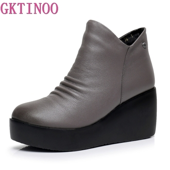 GKTINOO 2020 New Autumn Winter Women Shoes Woman Genuine Leather Wedges Snow Boots Height Increasing Ankle Platform - discount item  50% OFF Women's Shoes