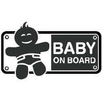 black silver 18CMX10.4CM BABY ON BOARD Friendly Tips Cartoon Car Body Trunk Sticker Vinyl Decal Black/Silver (1)