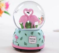 2018 Creative Resin Crytal Ball Flamingo Birthday Gifts For Lovely Girls Electronic Type Hot Selling Music