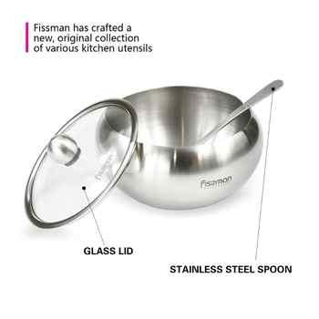 Fissman Sugar Bowl Stainless Steel Cruet with Lid&Spoon Salt Shaker Sauce Cruet Seasoning Jar