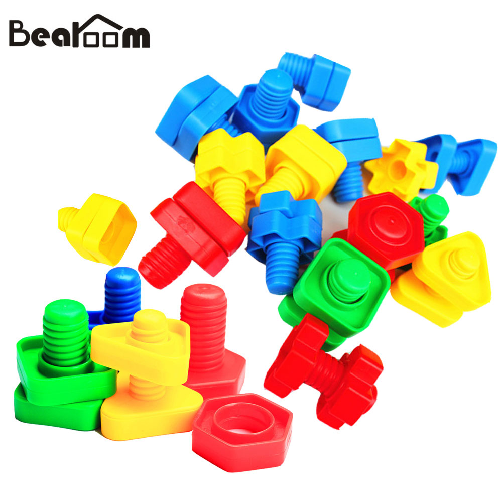 Bearoom Screw Building Blocks Learning Education Toys For Kid Diy Plastic Insert Block Montessori Toy Nut Shape Scale Models