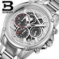 Suíça BINGER relógios homens marca de luxo relógios de Pulso relógio De Quartzo cheio de aço inoxidável Chronograph Diver glowwatch B-6008