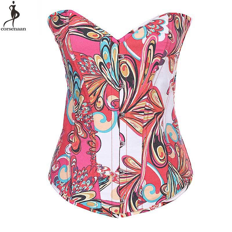 Butterfly Floral   Corset   Overbust   Corsets   Canvas Korset Lolita Daily Wear Women Girl   Bustier   Fish Boned Waist Slimming Gorset Hot