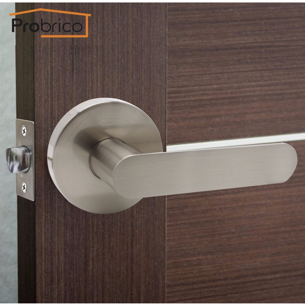 Probrico Stainless Steel Passage Interior Lever Door Lock Set Brushed Nickel  Bathroom Door Handle Bedroom Door Knob DL03SNPS In Handlesets From Home ...