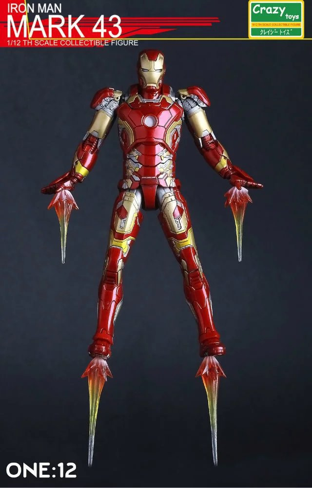 marvel the avengers stark iron man 3 mark vii mk 42 43 mk42 mk43 pvc action figure collectible model toys 18cm kt395 Crazy toys Iron Man MK43 Variant painted figure PVC Action Figure Collectible Model Toy 15cm KT3524