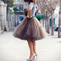 Neophil 2016 Mulheres Midi Saias de Tule Cinza Malha Puffy Plissado Alta cintura moda 3 camadas curto tutu vestido de baile saias flare s07046