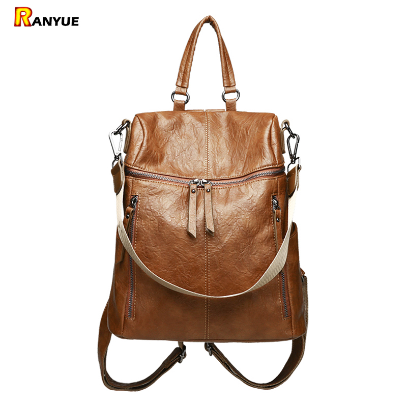 Vintage Double Zipper Women Backpack High Quality PU Leather Mochila Escolar Feminina Shoulder School Bags For Teenage Girls Sac vintage tassel women backpack nubuck pu leather backpacks for teenage girls female school shoulder bags bagpack mochila escolar
