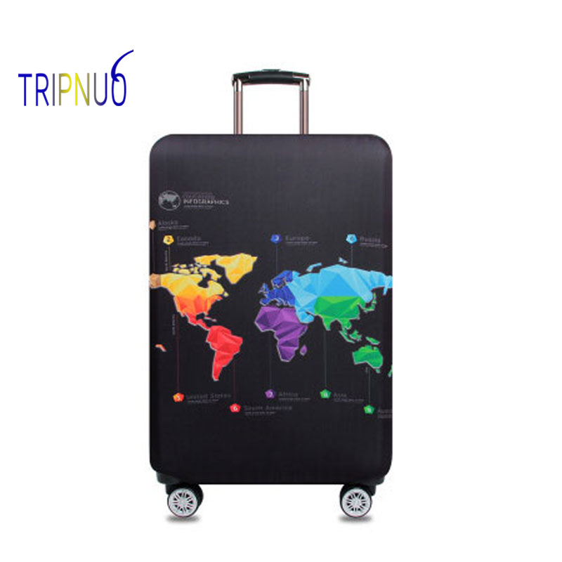 TRIPNUO Thickest World Map Luggage Cover Travel Accessories Elastic Suitcase Protective Cover Apply To 18''-32'' Suitcase