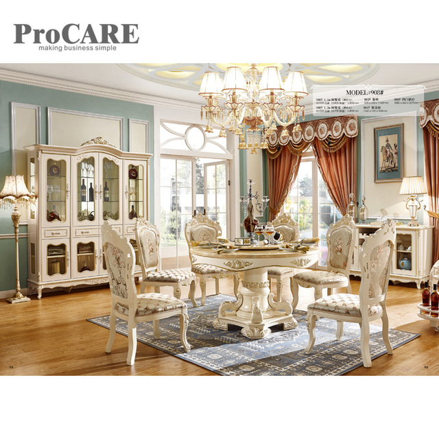Foshan Top Furniture Gold Dining Table Dinning Round Rotating For Wedding 908