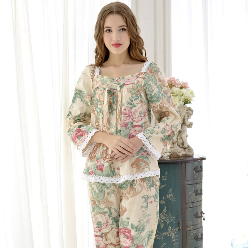 QT Brand Floral Womens Pajamas Apricot Long-Sleeve Pajama Pants Sets Fashion Trend Flower Princess Sleepwear Lounge Sets 9588
