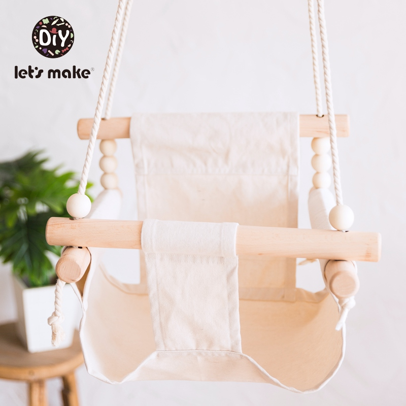 Let's Make Baby Swing Rocking Chair Swing For Children Indoor 4-6 Months Fence Cloth Wooden Beads DIY LaTeX Free Baby Product